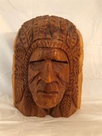 Native American Chief Head Pine Wood Carving