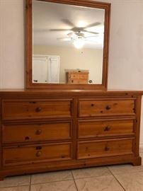 Pine Color SixDrawer Dresser and Mirror