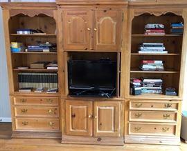 Pine TV/bookcase