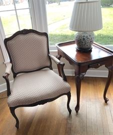 Repro French style chair, end table only