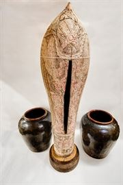 19c. Javanese Slit Drum. 19c.  LargeChinese Fermentation Pots
