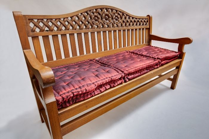 Teak Bench with Custom Indian Pillows