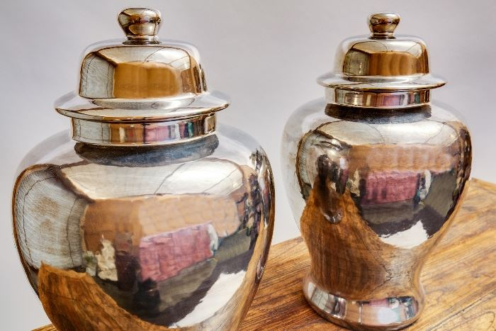 Chrome Porcelan Ginger Jars