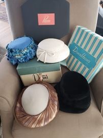 Vintage hats with original boxes.  Think Kentucky Derby party!