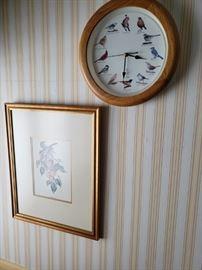 Floral print; bird clock.