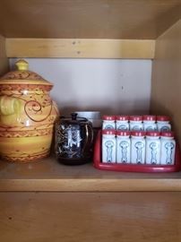 Vintage milk glass spice set; pottery; tea pot
