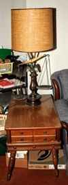 PAIR OF BALANCE SCALE TABLE LAMPS + MAPLE END TABLE