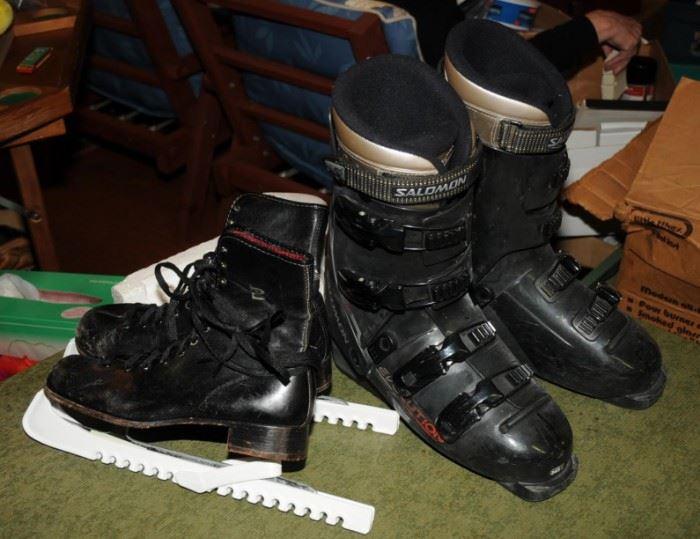 VINTAGE BRUNSWICK ICE SKATES & SOLOMON DOWNHILL BOOTS