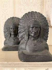 Antique Cast Iron Indian Chief Bookends