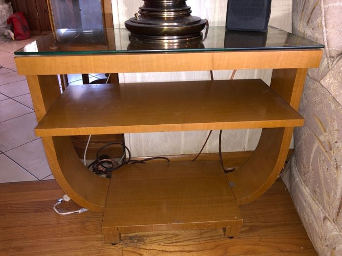 1930's Art Deco Brown Saltman end tables (2 available only 1 photographed)