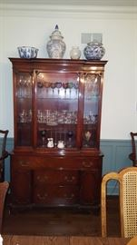 Traditional China Cabinet & Contents