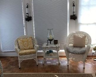Wicker chairs with wicker table