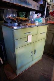 Vintage green industrial metal kitchen cabinet