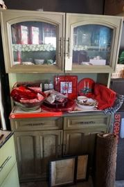 matching faux wood and metal vintage kitchen hutch