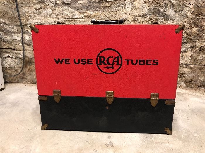 Old RCA Caddy full of Tubes. In Living Room.