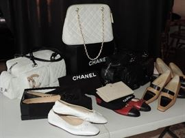 A nice selection of CHANEL including 3 purses, 1 wallet, many pairs of shoes (7 1/2) … still sorting the house … stay tuned !