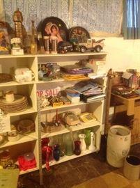 Trays, trucks, vases, phones, bottom of butter churn,