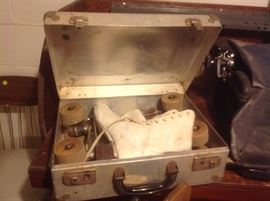 Metal case and ice skates