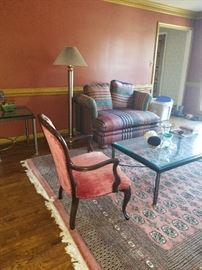 Formal Living room ,  Outstanding Rug- Couch, Loveseat, Fan, Glass Coffee Table End Table Formal sitting Chair and other house hold goods are cash and carry