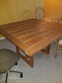 Teak out door table and Wicker Rattan Glass Top table w/4 chairs are Cash and Carry
