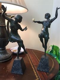 Bronze dancers from Thailand, complete with ivory ball!