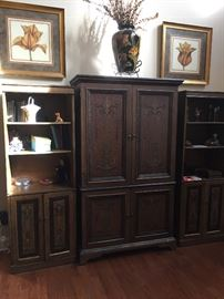 3 Piece Asian-inspired cabinet & shelves.