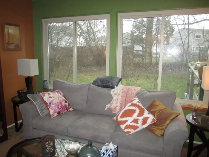 New sofa, coffee table and side tables, decorative pillows