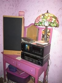 Painted furniture,  stained glass lamp, electronics