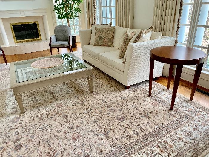 Swaim two cushion sofa.  Square glass top coffee table, side tables and chairs