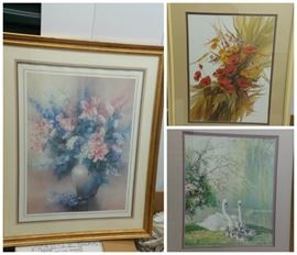 Three Floral Framed Pieces https://ctbids.com/#!/description/share/102478
