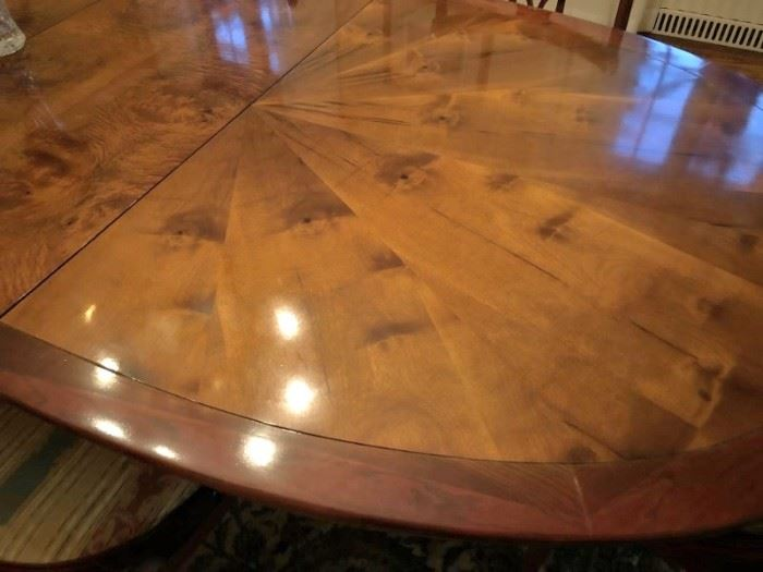 Starburst Antique Dining Table with 8 Chairs, Beautiful Condition & Upholstery
