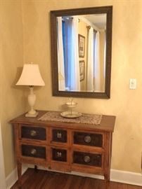 Pair of Cabinets, Lamps and Mirrors