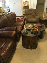 Leather sofa - casual chair, end table