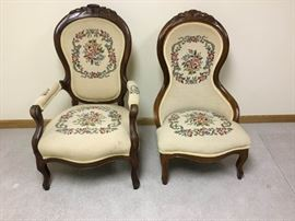 Ornate Carved Needlepoint Chairs