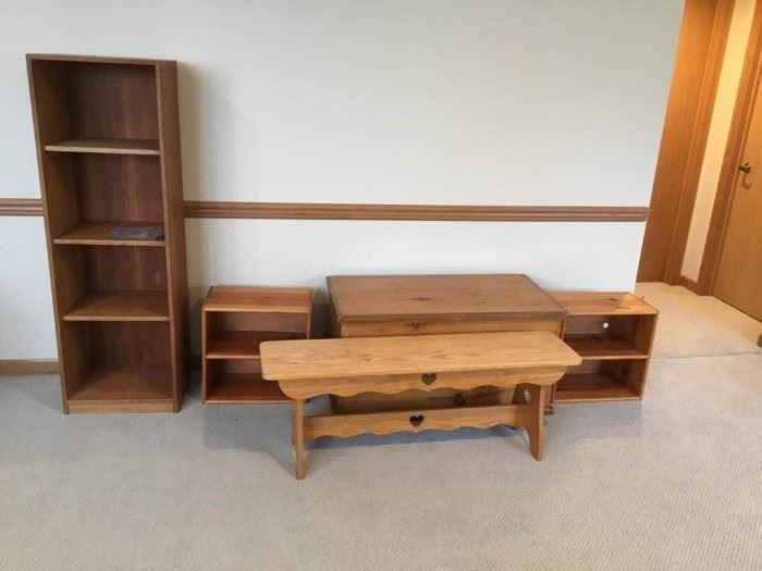 Pine Trunk, Shelves, and Oak Bench