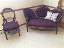 Vintage Carved Settee and Chair