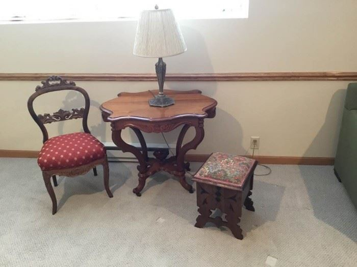 Vintage Chair, Table, and Sewing Box