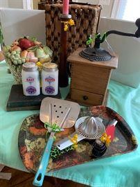 Vintage Milk glass- salt & pepper / Vintage coffee grinder