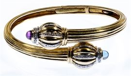 14k Gold Amethyst Sapphire and Diamond Hinged Bangle Bracelet