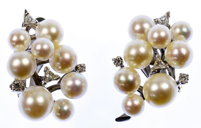 14k White Gold Pearl and Diamond Clip Earrings