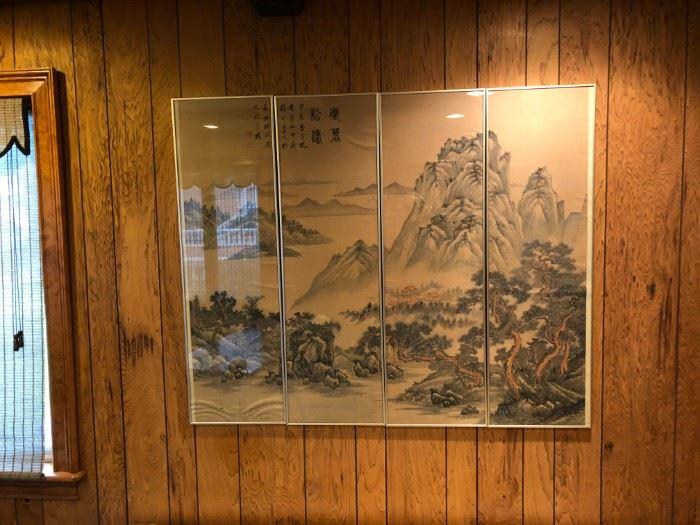 CHINESE SILK SCROLL FRAMED