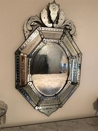 A NICE VENETIAN ETCHED MIRROR