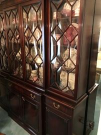 BREAK FRONT CABINET PURCHASED IN 1947 WITH RECEIPT FOR $1100!  A VERY NICE ROSENTHAL SET SERVICE FOR 12.