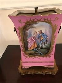A PAIR OF HAND PAINTED LAMPS (ONLY ONE SHOWN)