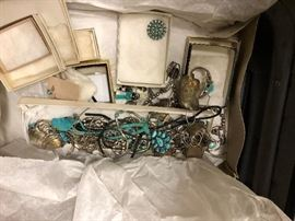 PART OF AMERICAN INDIAN SILVER & TURQUOISE JEWELRY PURCHASED IN THE LATE 1950s ON WESTERN RESERVATIONS