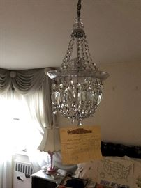 and another bedroom chandelier with an original 70 year old receipt purchased when the family lived in Brooklyn, New York