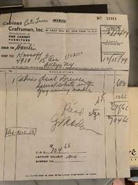 1949 RECEIPT FOR DRESSER