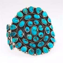 Navajo Sterling Silver and Turquoise Oversized Bracelet