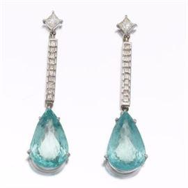 Pair of Diamond and Aquamarine Pendant Earrings