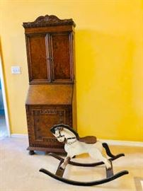 Vintage Wooden Rocking Horse & Antique Secretary Desk